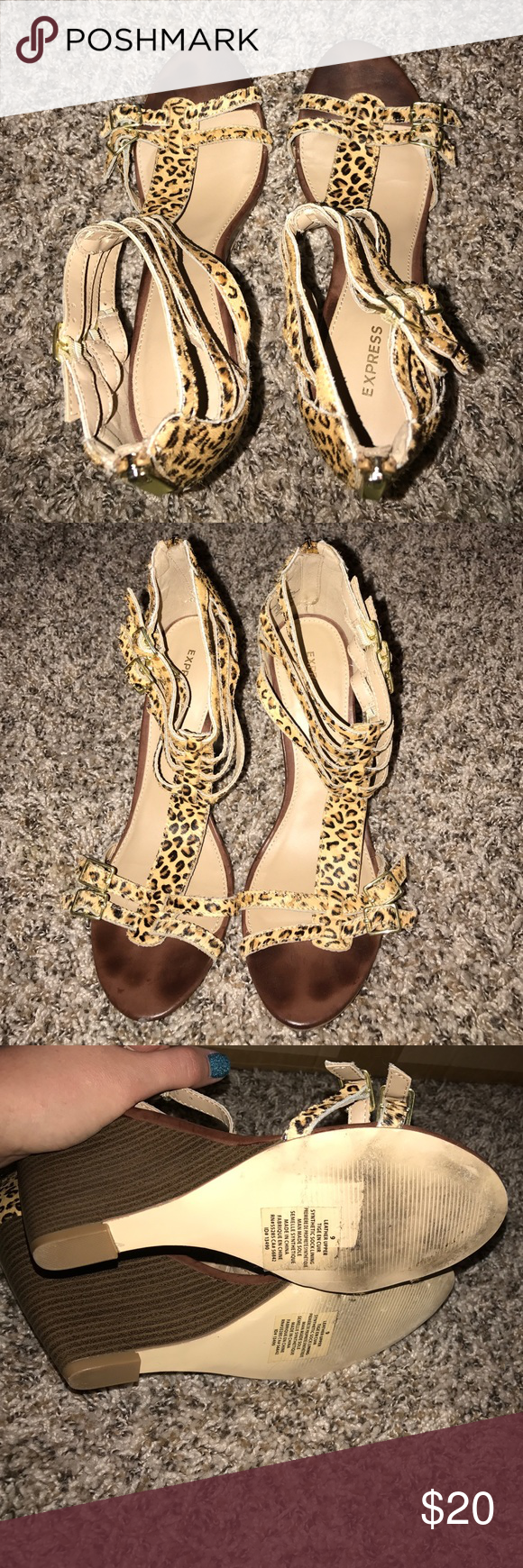 Leopard Wedges Worn twice. From Express. Size 9. Gold zipper and metal detail. Express Shoes Wedges