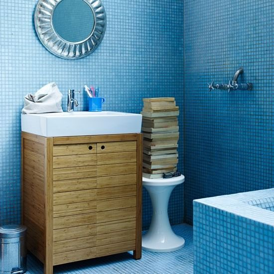 Wohnideen Badezimmer Blau Mosaik Fliesen