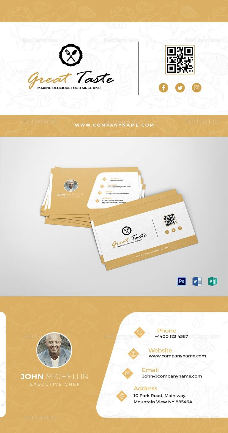 Restaurant chef business card template templates