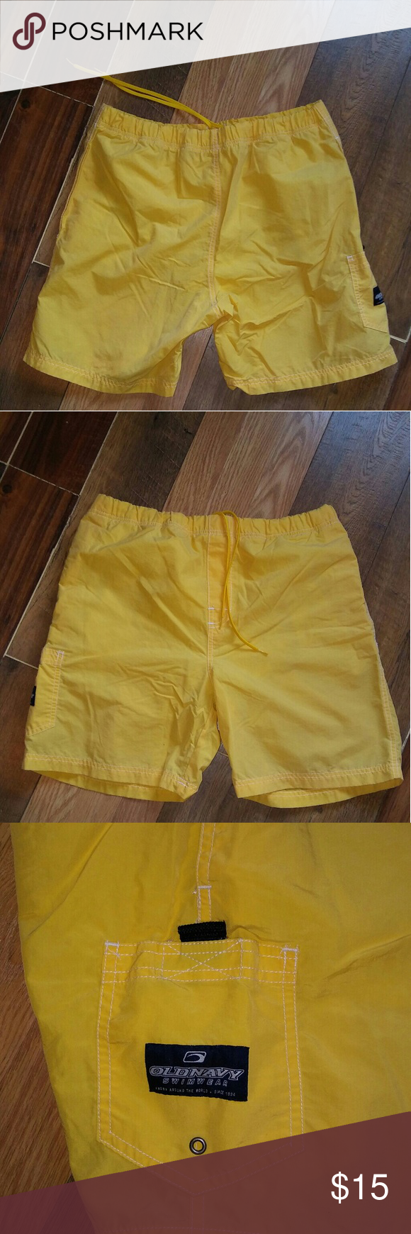 Men's Old Navy Lined Swim Shorts Size Med. Yellow. Excellent condition. 100% Nylon. Drawstring waist. Old Navy Swim