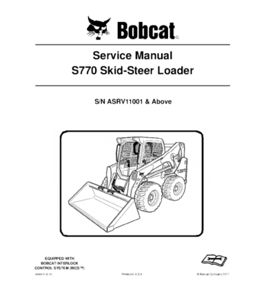 Bobcat S770 Skid Steer Loader Service Repair Manual Repair Manuals Skid Steer Loader Bobcat