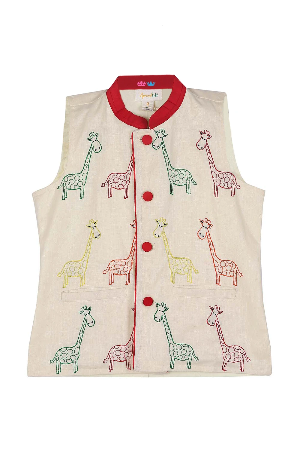 Organic offwhite giraffe embroidered jacket Embroidered