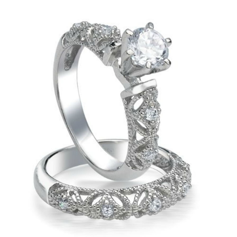 Sterling Silver Wedding set size 8 CZ Round cut Engagement Ring Bridal New w35 #Unbranded