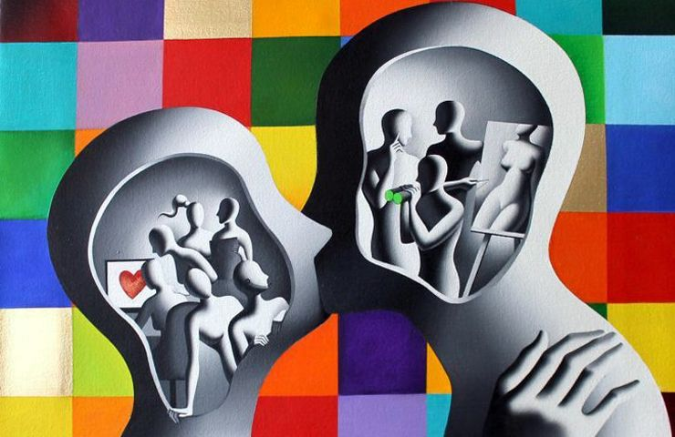 MARK KOSTABI (1960), AMERICAN PAINTER – Faceless figures and unidentified mannequins suspended between dreamlike and metaphysical atmospheres