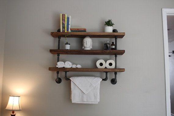 Tubería industrial estante estantes del cuarto de baño ...