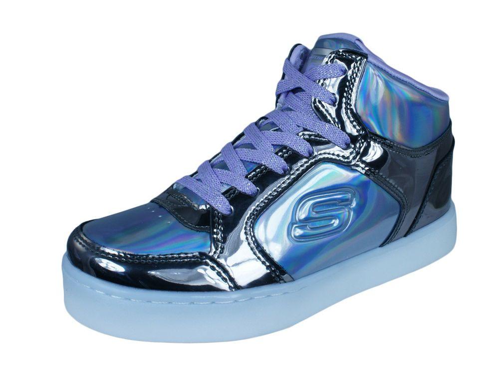 02f0bd982d95 eBay  Sponsored Skechers S Lights Energy Lights Girls Sneakers Hi-Top LED  Shoes Gun-Metal Purple