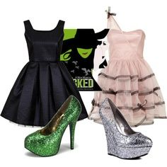 Glinda and Elphaba casual cosplays. I really like them as a prom dress couple thingy. (Can't find a better way of wording that, sorry.)
