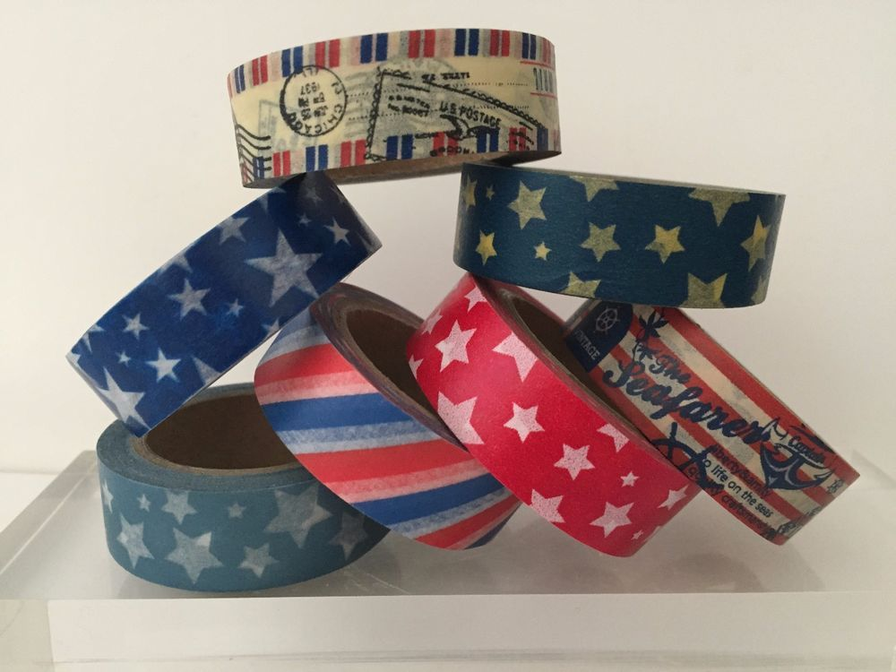 WASHI TAPE: RED WHITE & BLUE PATRIOTIC 4TH OF JULY WASHI TAPE IN 6 DESIGNS- NEW #Unbranded
