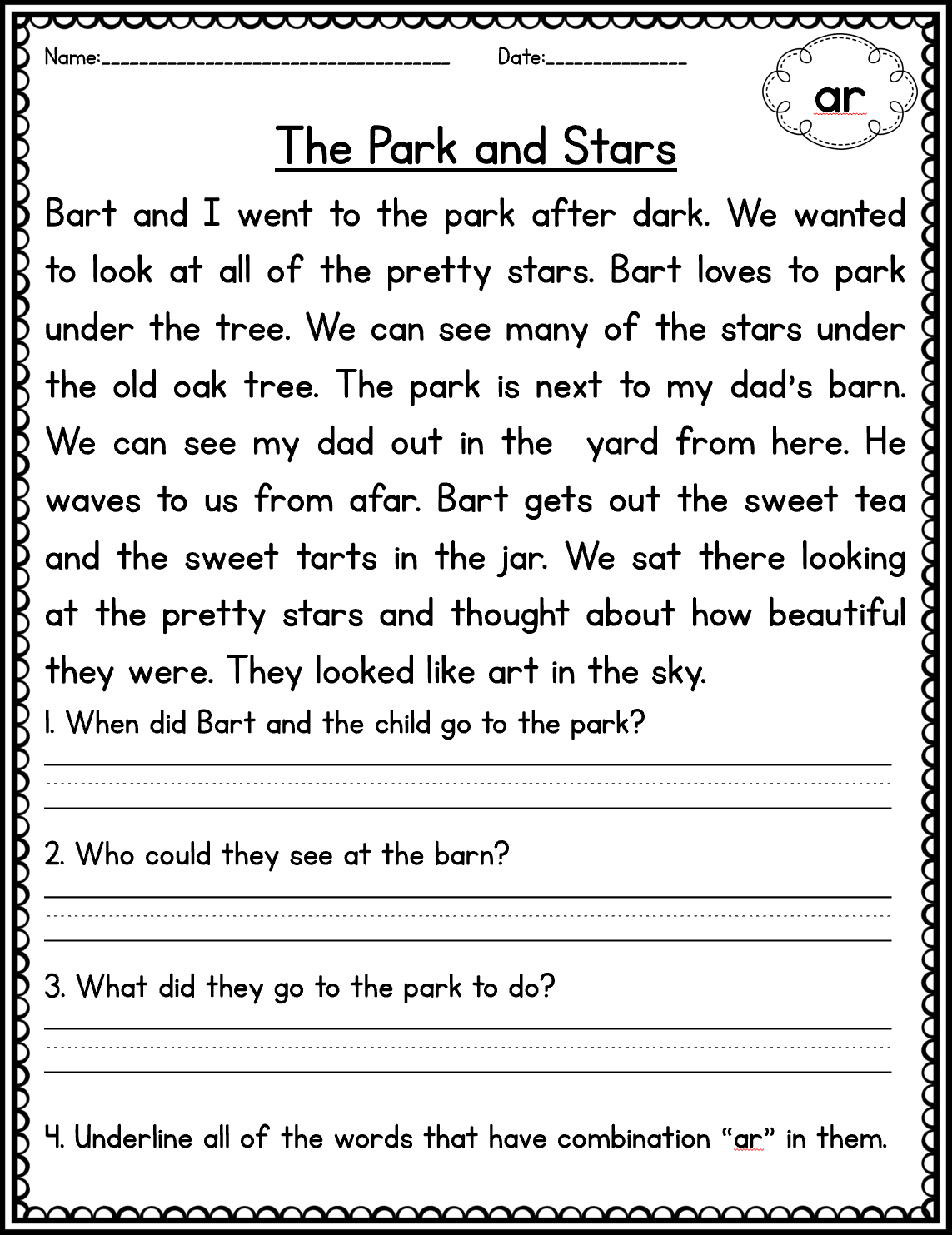 Phonics Comprehension Passages