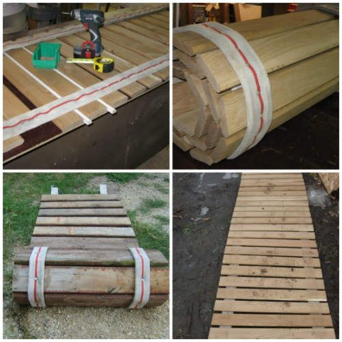 12 Diy Old Pallet Stairs Ideas: How To Make A Pallet Wood Roll-Up Sidewalk In 2019