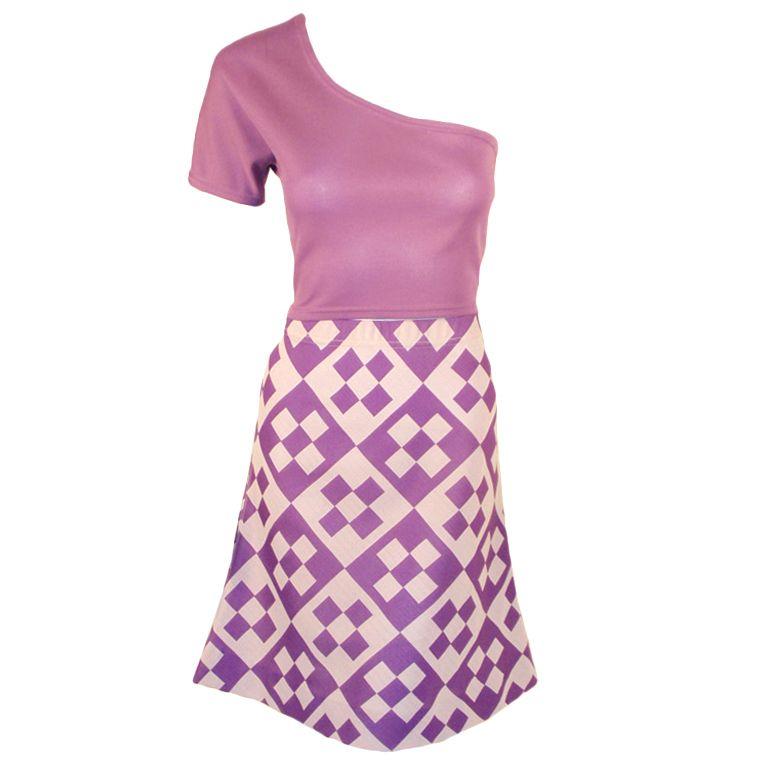 Rudi Gernreich for Harmon Knitwear - Rudi Gernreich Vintage 2 pc. White & Purple Top & Skirt Set, 1960's