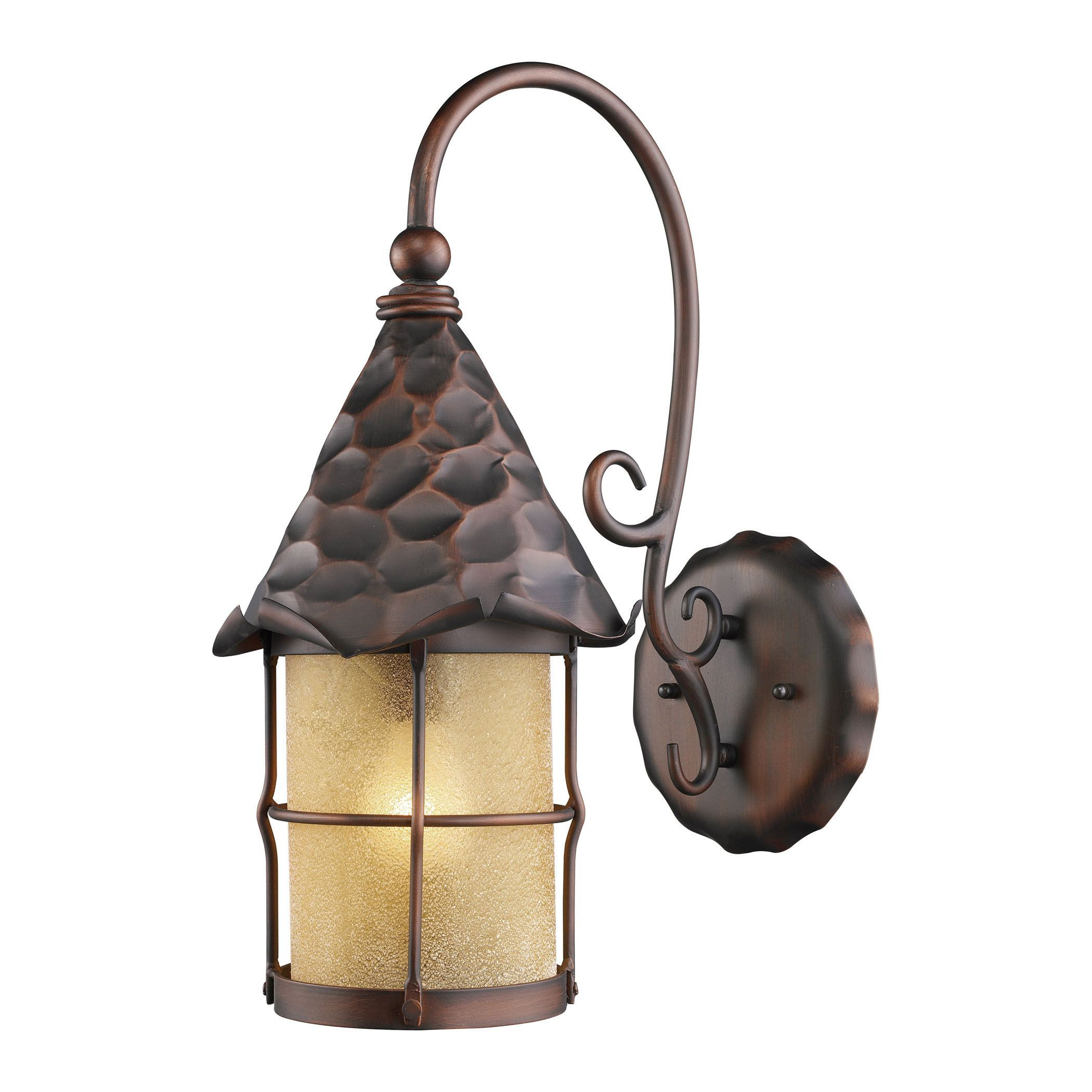 Rustica light outdoor wall sconce in antique copper and amber