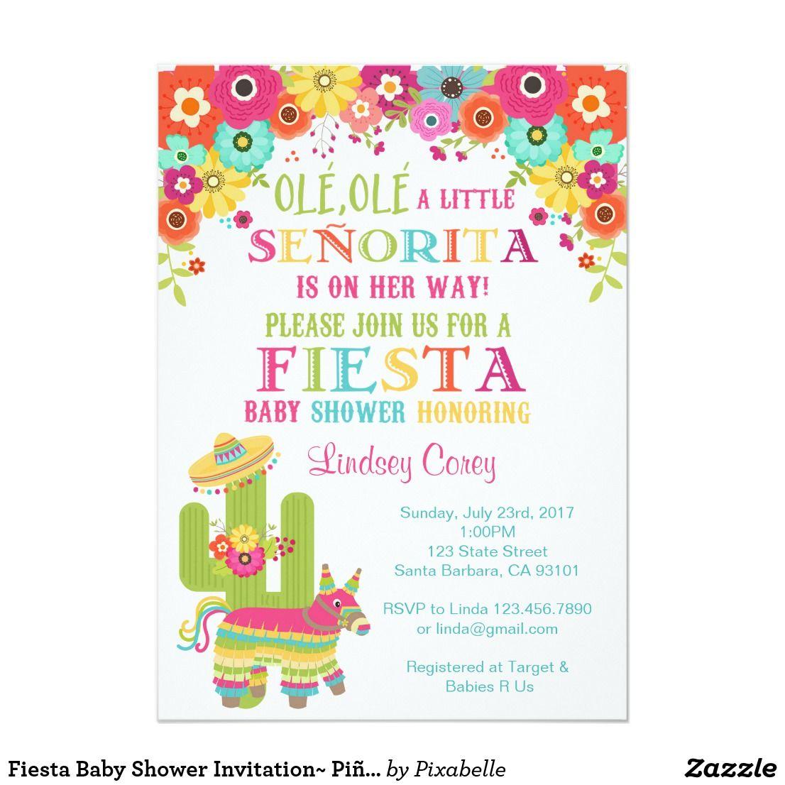 Fiesta Baby Shower Invitation~ Piñata and Flowers Card Fiesta Baby ...
