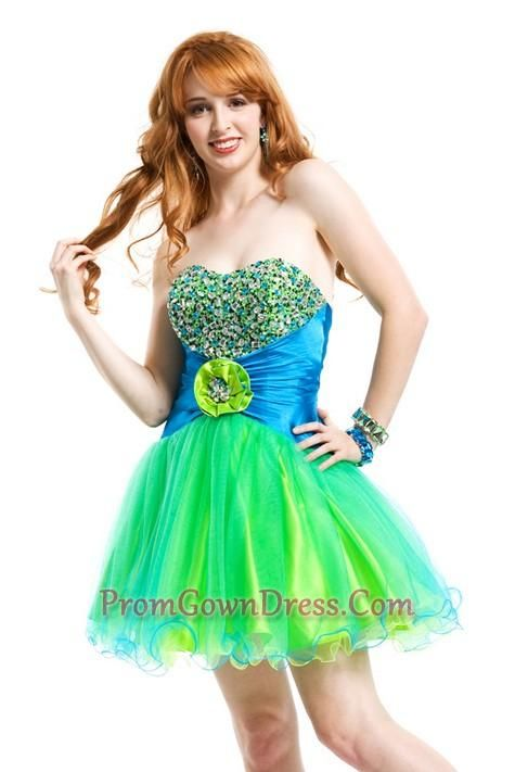 Lime Green Prom Dresses | lime green strapless short beading prom ...