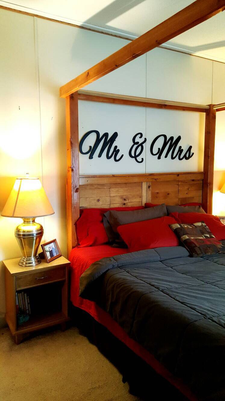 Mr Mrs Wall Hanging Above Bed Decor Above Bed Custom Furniture