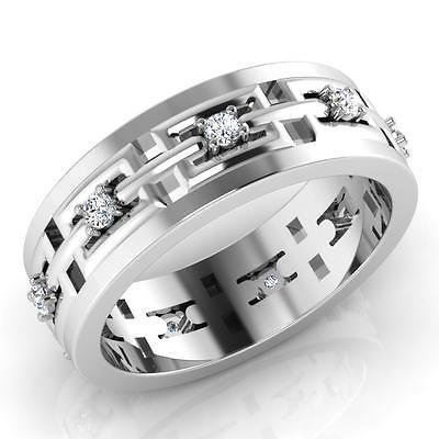 0 23 Ct Natural Diamond Ring 14k White Gold Mens Anniversary Band Size 10 9 8 11 Mens White Gold Rings Mens Wedding Bands White Gold Diamond Engagement Band