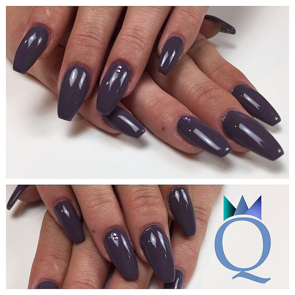 coffinnails #ballerina #shape #gelnails #nails #darkgrey #ministones ...
