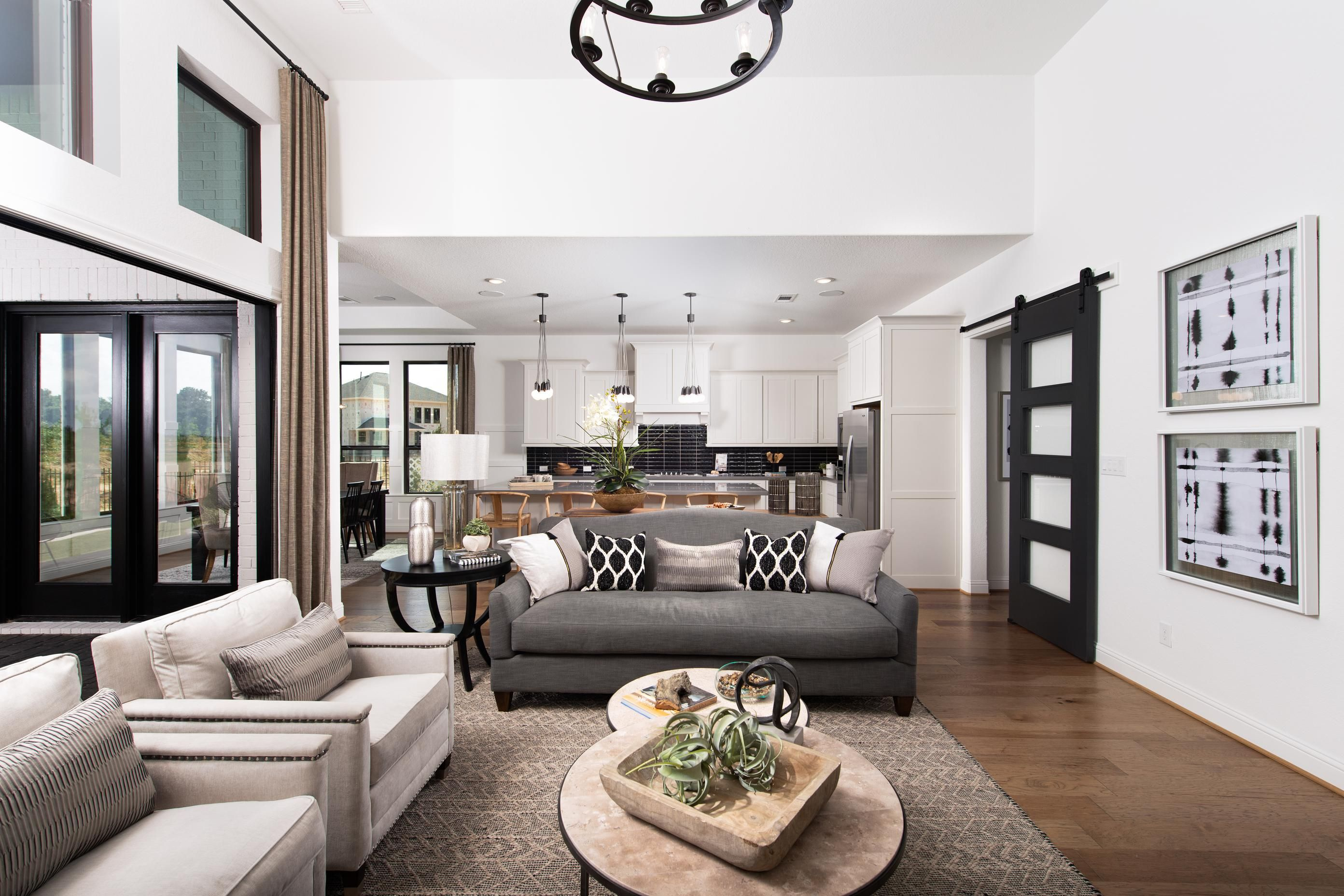 A Raised Ceiling And Open Floor Plan