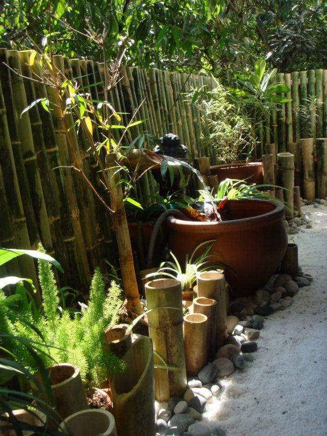 Un Mur Naturel De Bambou Et Une Fontaine Diy En Bambou