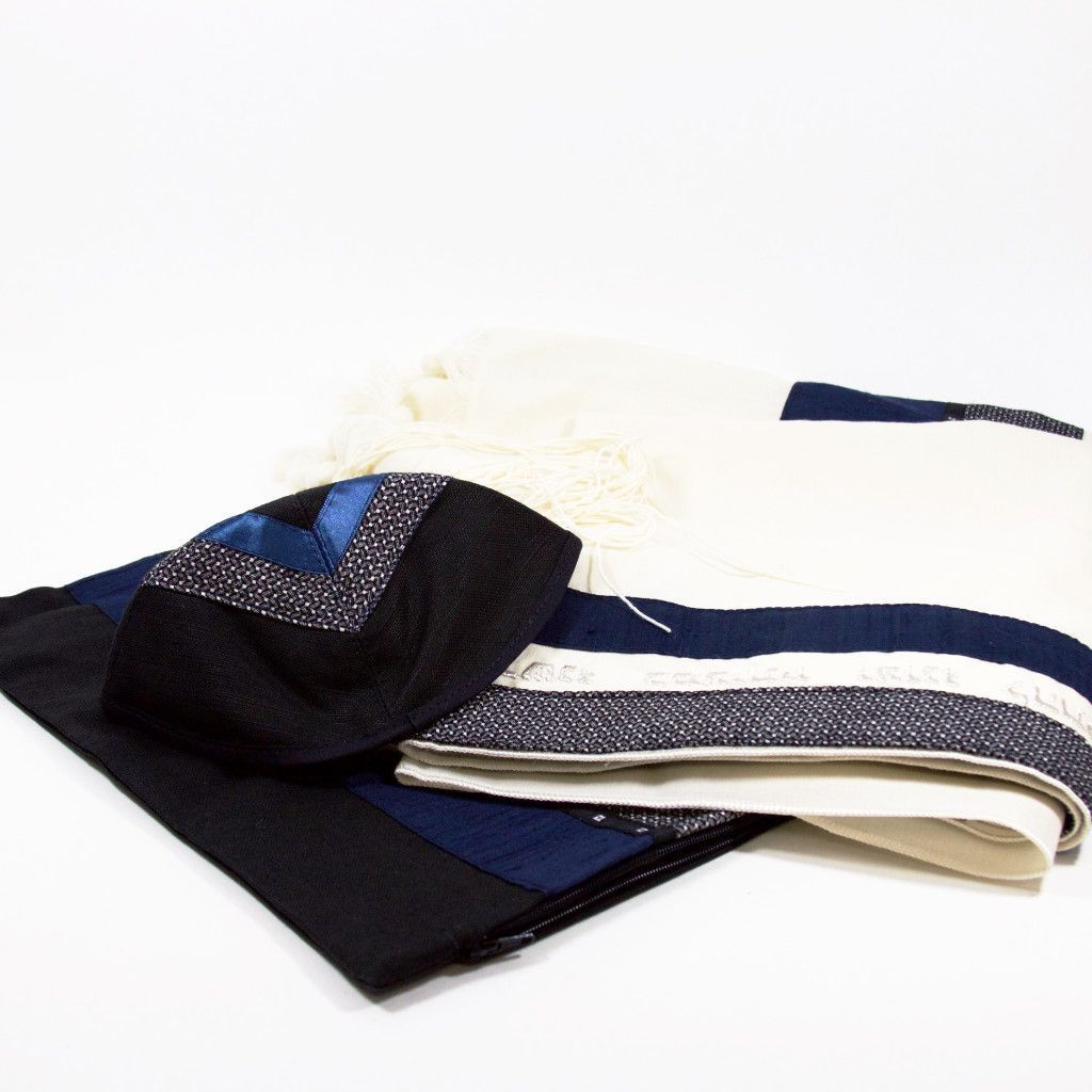 Tallit Set in Blue, Gray, and Black