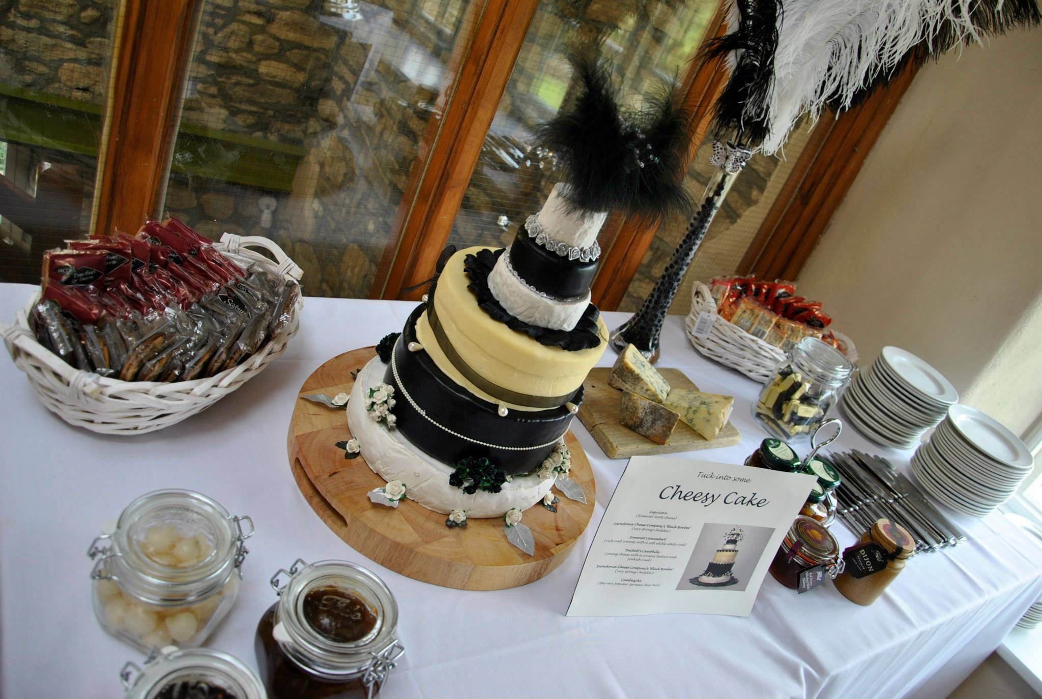 Large wedding cake made of cheese