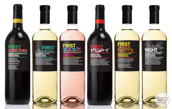 Wedding Gift Wine Labels Bridal Shower Wine Label Firsts First