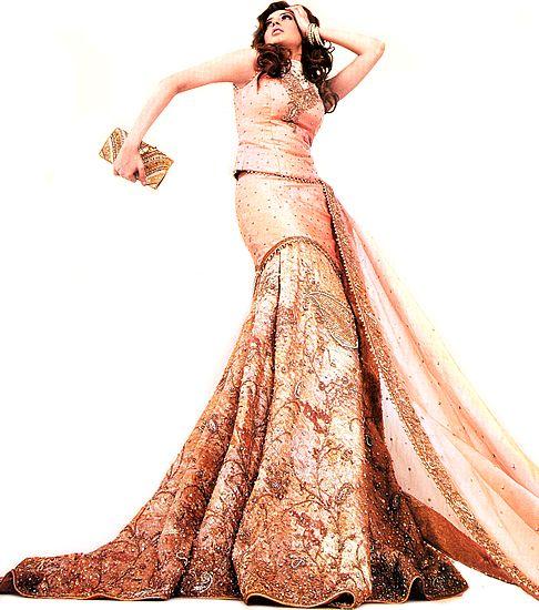 BW331 Dusky pink Lehenga Damask Bridal Dress Series Pink and Golden Lehengas London Bridal Wear