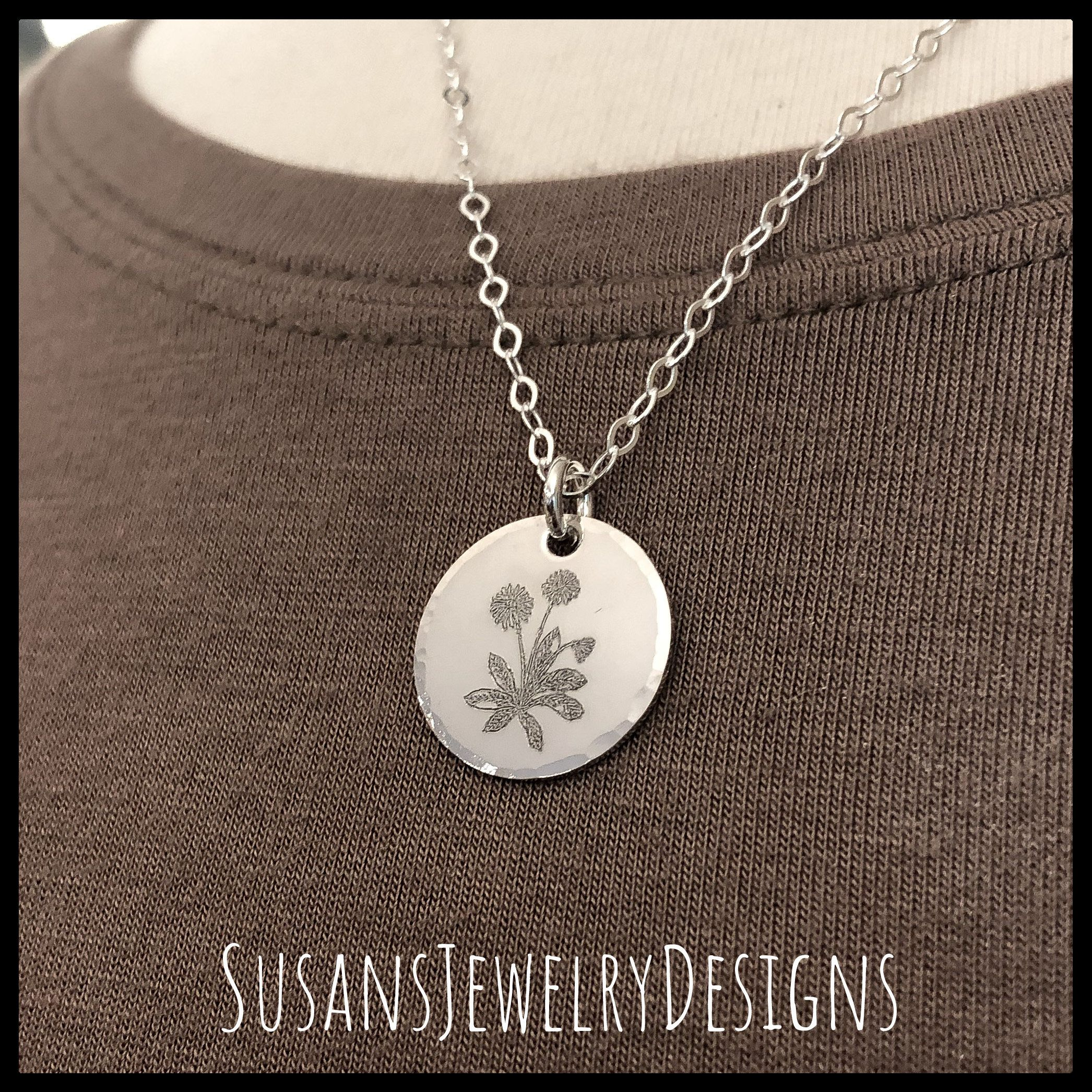 Birth month flower necklace sterling silver jewelry Etsy