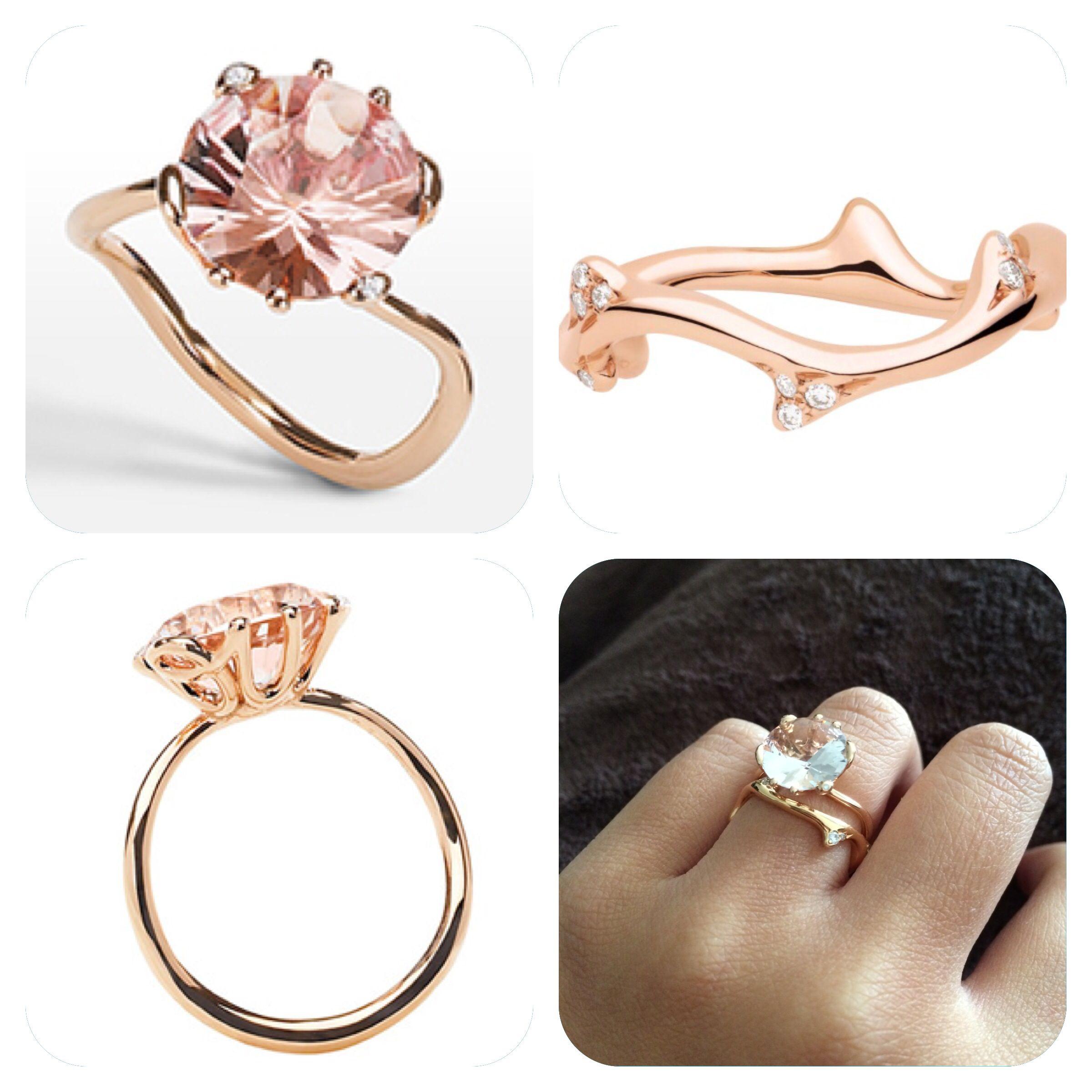 Engagement Wedding Ring Ring Oui Dior Morganite Pink Gold Ring