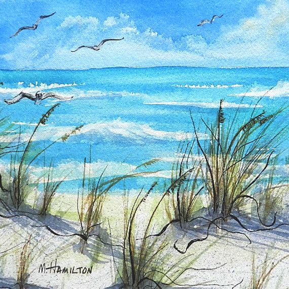 Seascape Watercolor Painting Sea Oats Sand And Sea Art Scrapbook