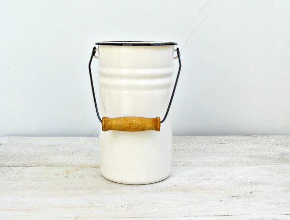 Enamel white Milk Jar Vintage milk can black rim by MeshuMaSH, $37.00