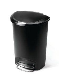 Amazon Com Simplehuman 50l Liter 13 Gallon Semi Round Step Trash Can Black Plastic Simplehuman Kitchen Trash Cans Trash Can Simple human trash can 13 gallon