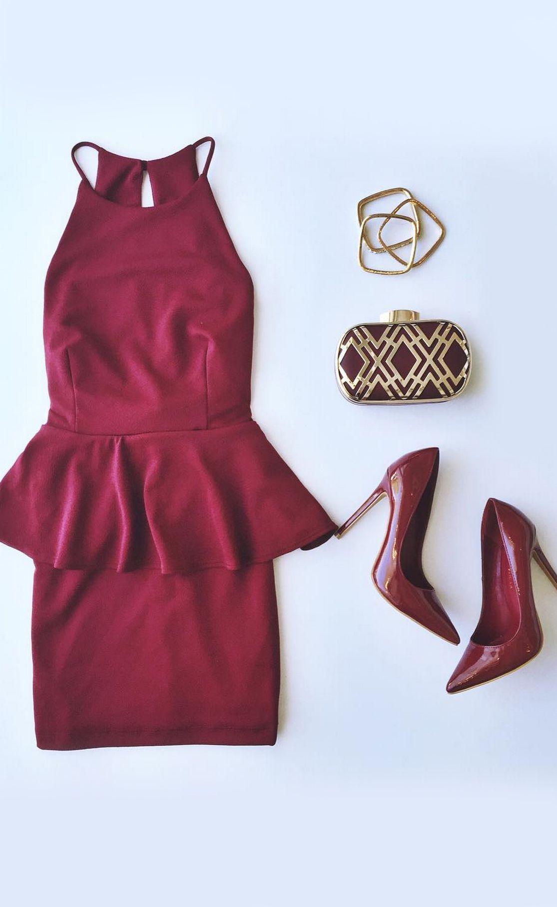 4c626c23b00 Clothing · Mischievous Maiden Burgundy Peplum Dress