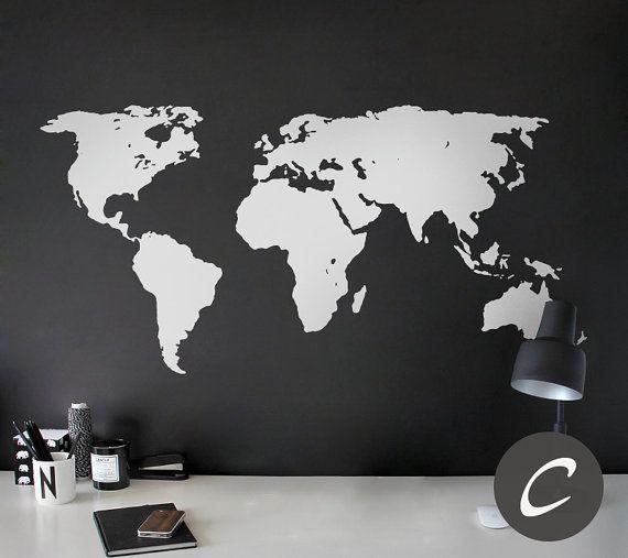 World map decal temporary wall decor office wall decal world map cette carte mondiale wall decal est parfaite pour nimporte quelle pice il est disponible en gumiabroncs Image collections