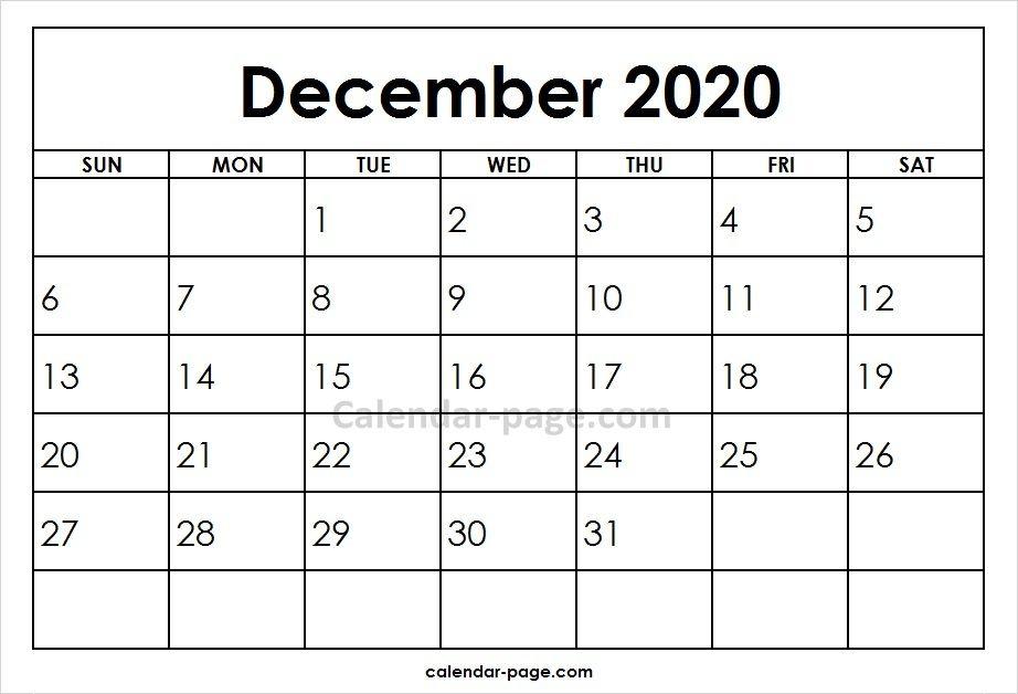 December 2020 Printable Calendar Template Blank Calendar