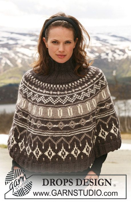 Fair Isle poncho custom made, wool knit mantle, cozy knit cape ...