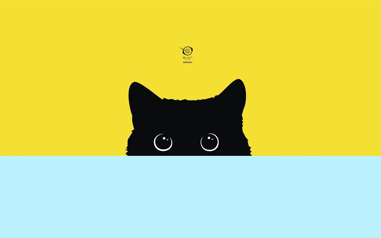 Wallpaper Cat Minimalism Art Blue Yellow Black Papeis De Parede