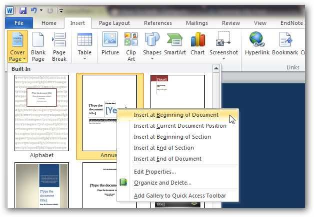 How to Create Custom Cover Pages in Microsoft Word 2010 Windows 10