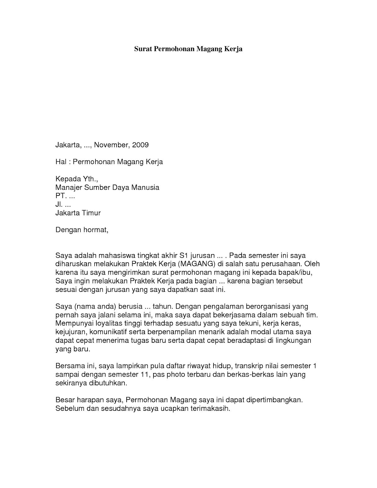 Contoh Surat Magang Kerja Dalam Bahasa Inggris
