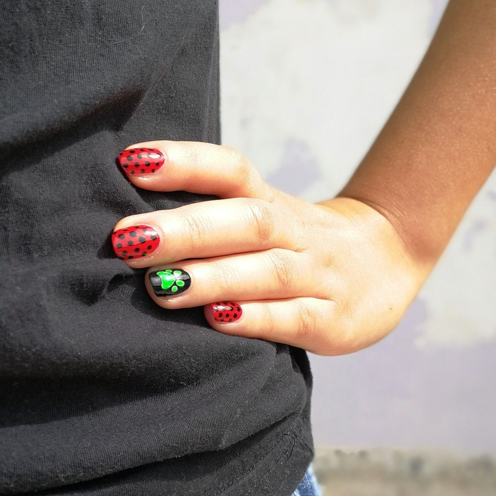 Miraculous ladybug nail polish spots on claws out