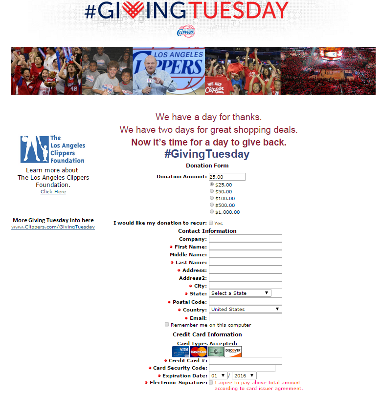 Example Page By One Of Our Very Own Clippers Givingtuesday There Are Some Good Form Best Practices In Here Donation Page Giving Tuesday Donation Form