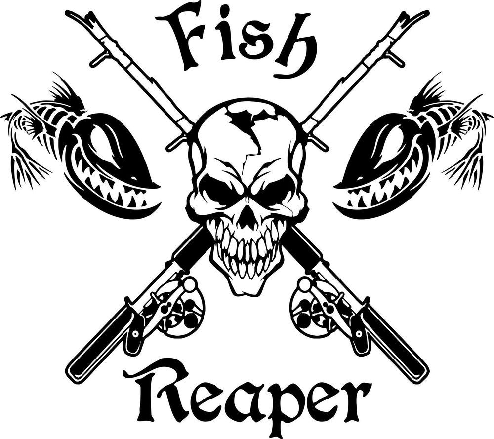 Fish Reaper Skull Fishing Rod Reel Car Boat Truck Window Vinyl - Custom vinyl decals for cars   removal options