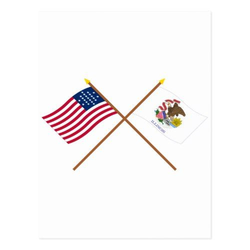 Crossed Us 21 Star And Illinois State Flags Postcard Zazzle Com
