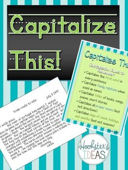 Capitalize This!Review capitalization rules by editing paragraphs that are missing capitalization.  This includes two paragraphs for students to edit and a poster stating the capitalization rules.*****************************************************************************You Might Also Be Interested in These Related ProductsHow and When to Use Quotation MarksCapitalize This!