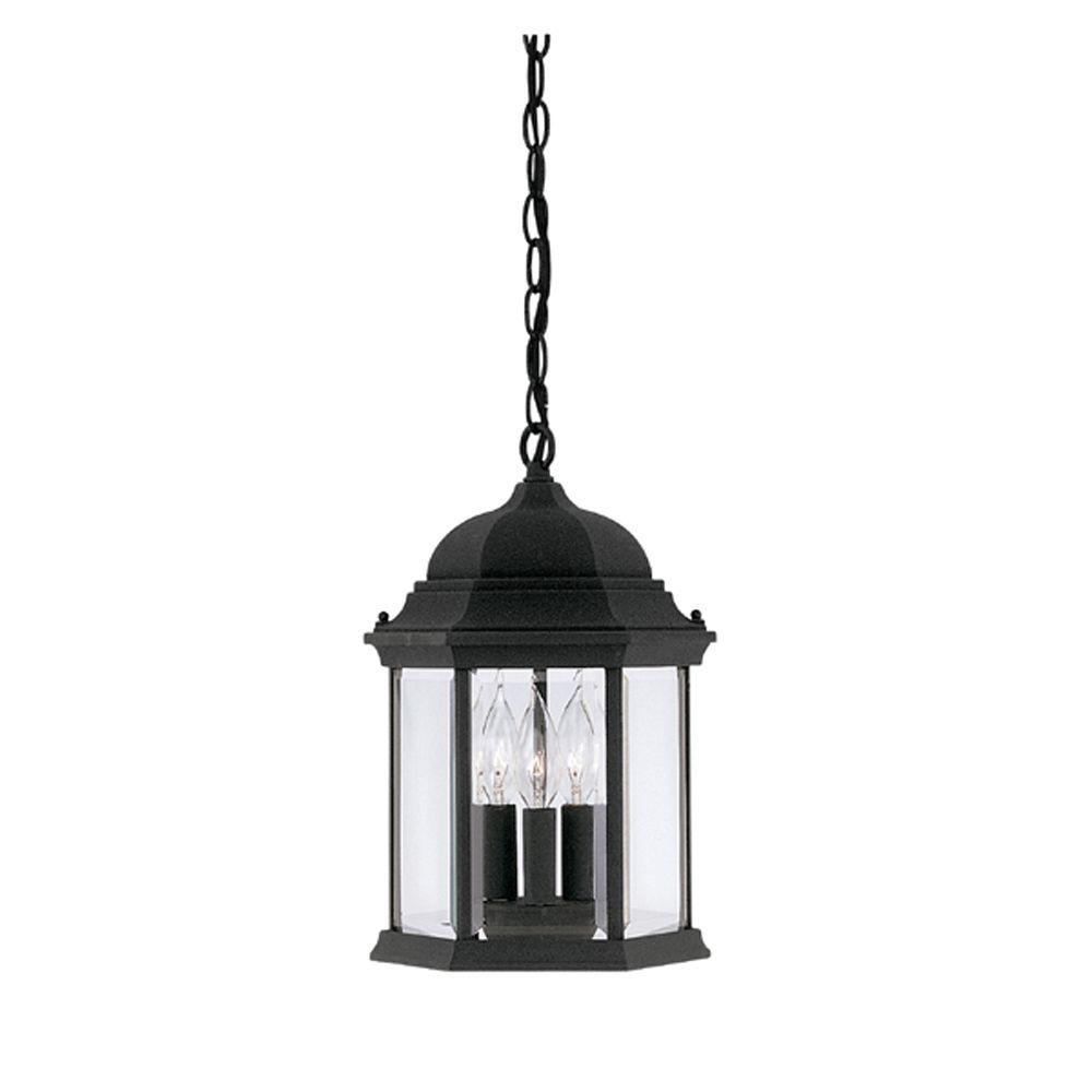Designers Fountain Erving Collection 3 Light Black Outdoor Hanging Foyer Light 2984 Bk Outdoor Pendant Lighting Outdoor Hanging Lanterns Outdoor Hanging Lights