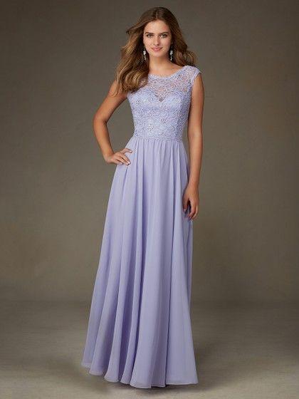 Scoop Neck Lace Chiffon Sequins Floor-length Cap Straps Lavender Bridesmaid Dresses