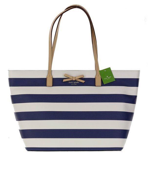 New Macy's Navy Blue White Striped Wristlet Purse Bag