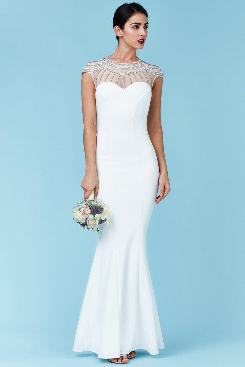 Embellished fishtail maxi wedding dress white maxi