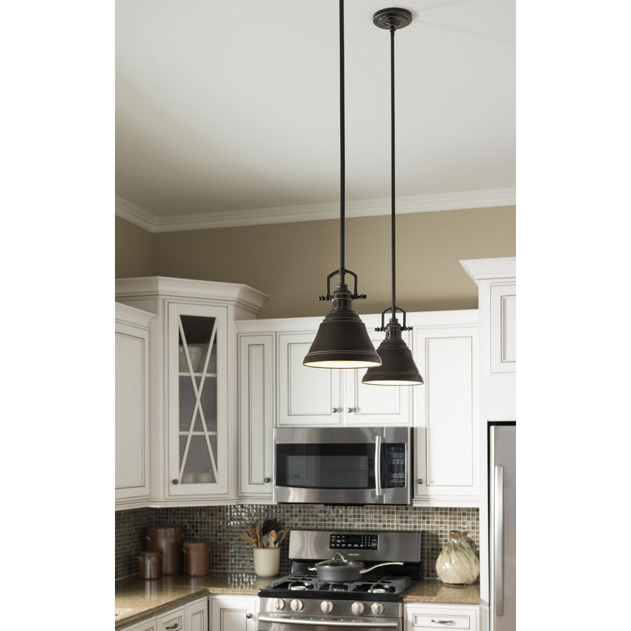 shop allen roth 8 in w bronze mini pendant light with metal shade