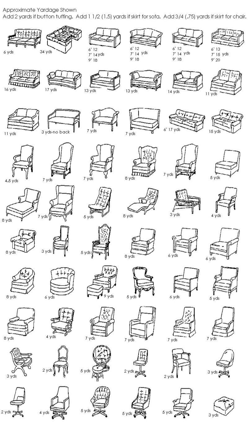 Yardage Charts for all DIY upholstery projects | Furniture ...